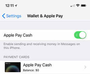 Apple Pay Cash settings